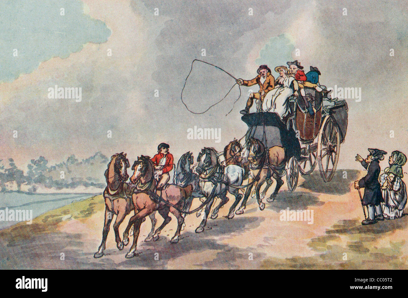 Coach and Six - Watercolour, circa 1790 - Stock Image
