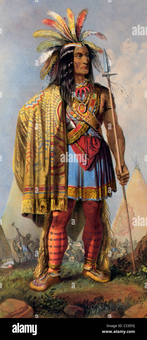Painting of Native American - Stock Image