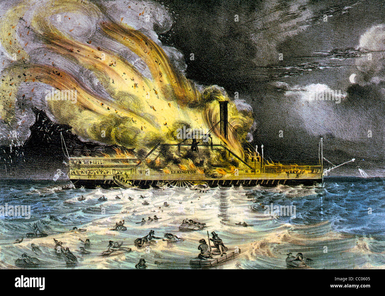 Awful conflagration of the steam boat Lexington in Long Island Sound on Monday evening., January 13th 1840 - Stock Image