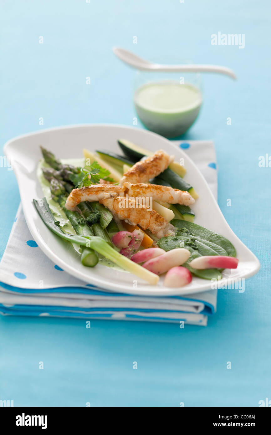 Mish-mash of Vegetables with Scampi - Stock Image