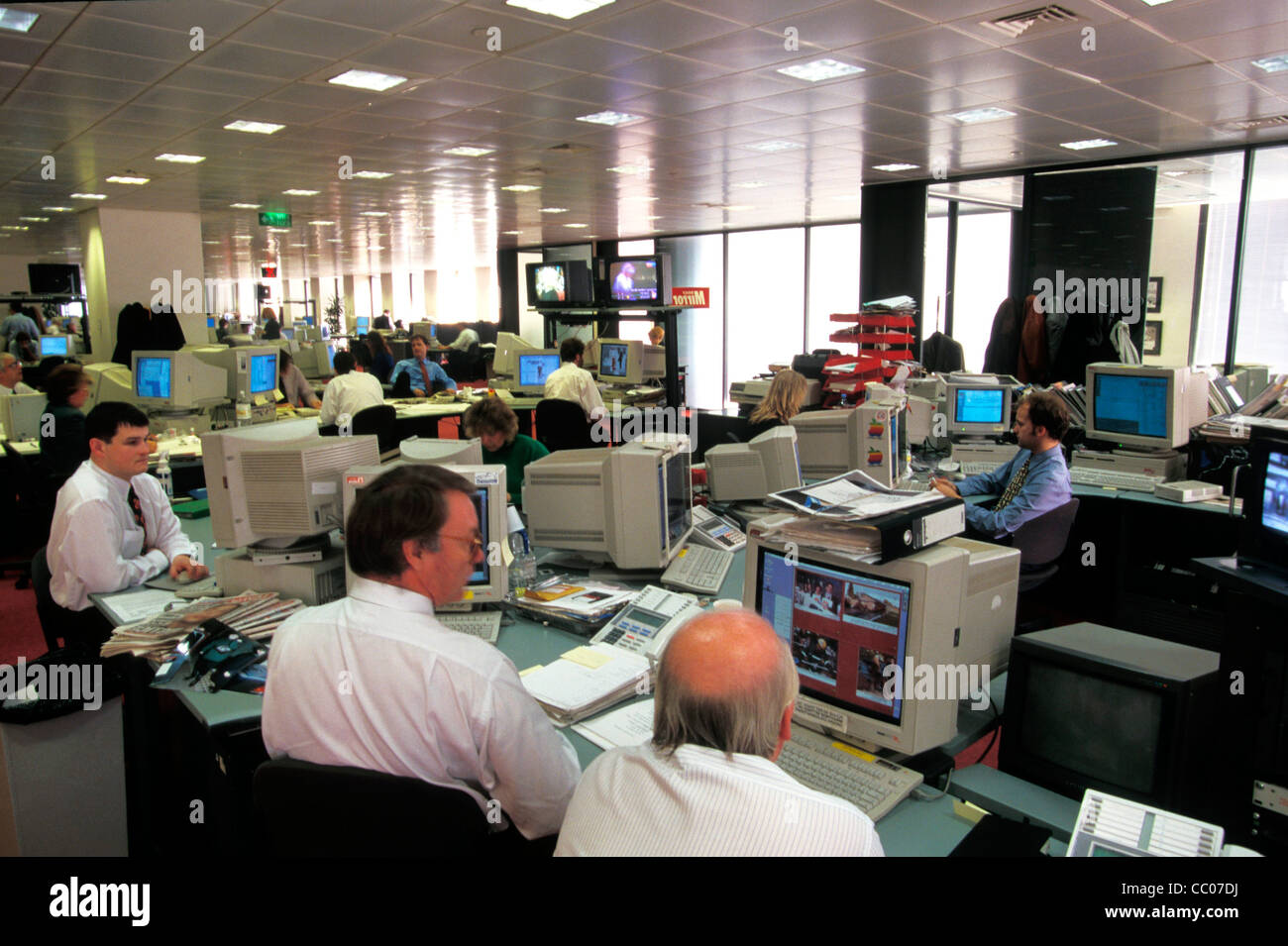 inside the Daily Mirror newspaper editorial offices , Fleet Street during the time that phone hacking was a widespread Stock Photo