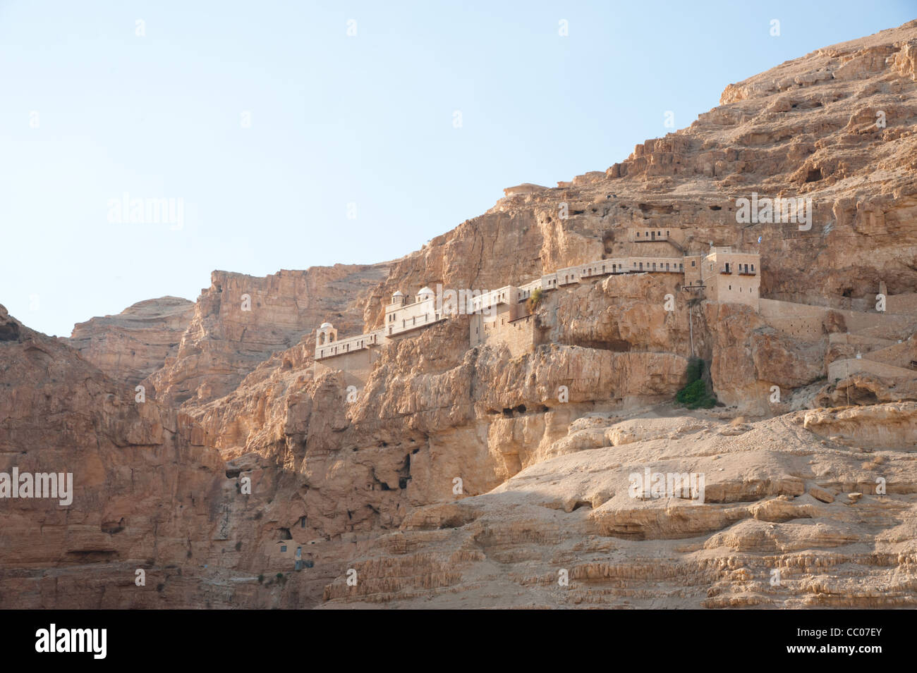 The Monastery of the Temptation, an Orthodox Christian monastery located on a cliff overlooking the West Bank city - Stock Image