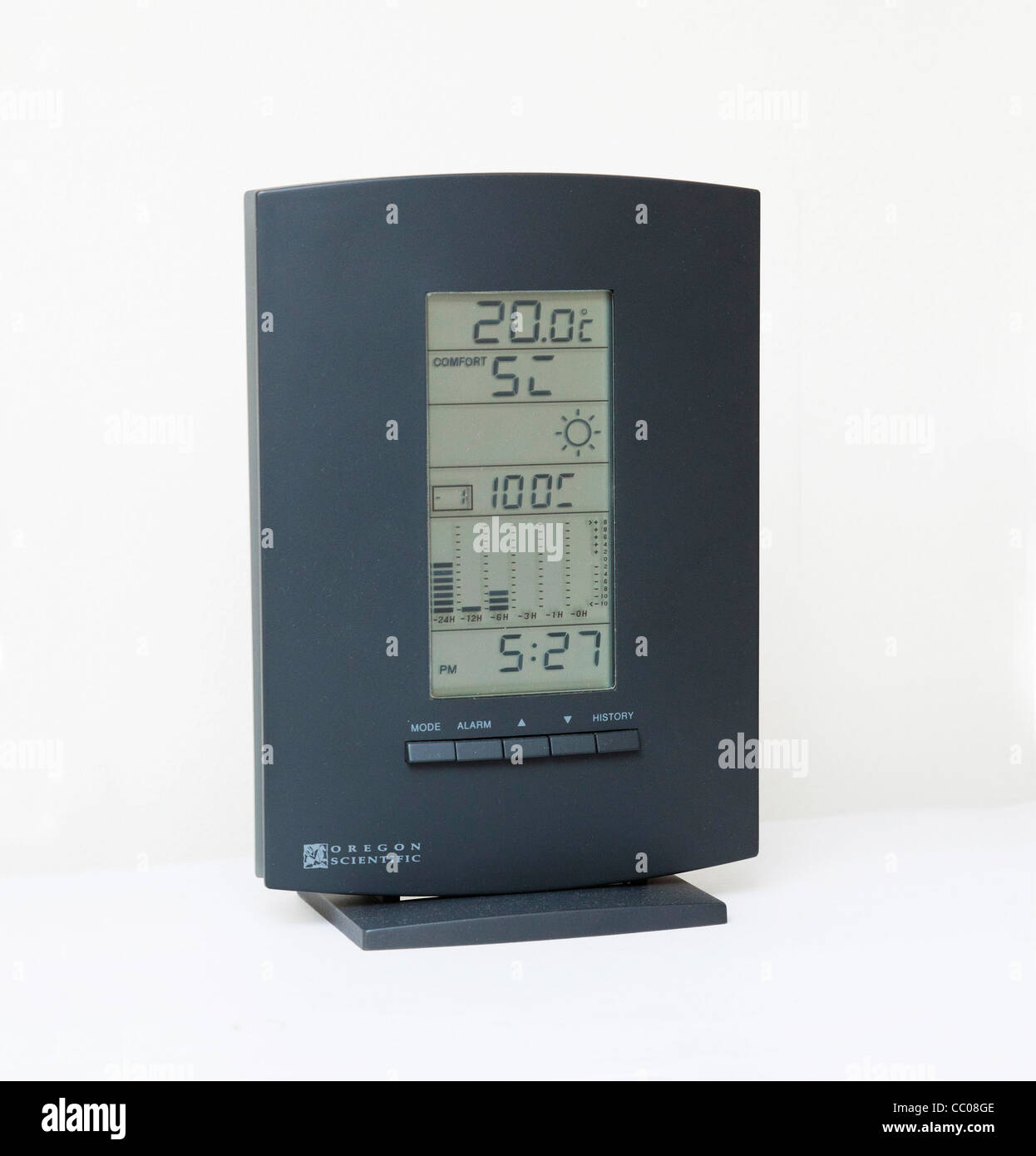 digital weather station with hygrometer and thermometer - Stock Image