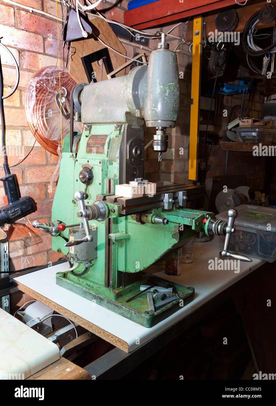 compact vertical milling machine in workshop - Stock Image