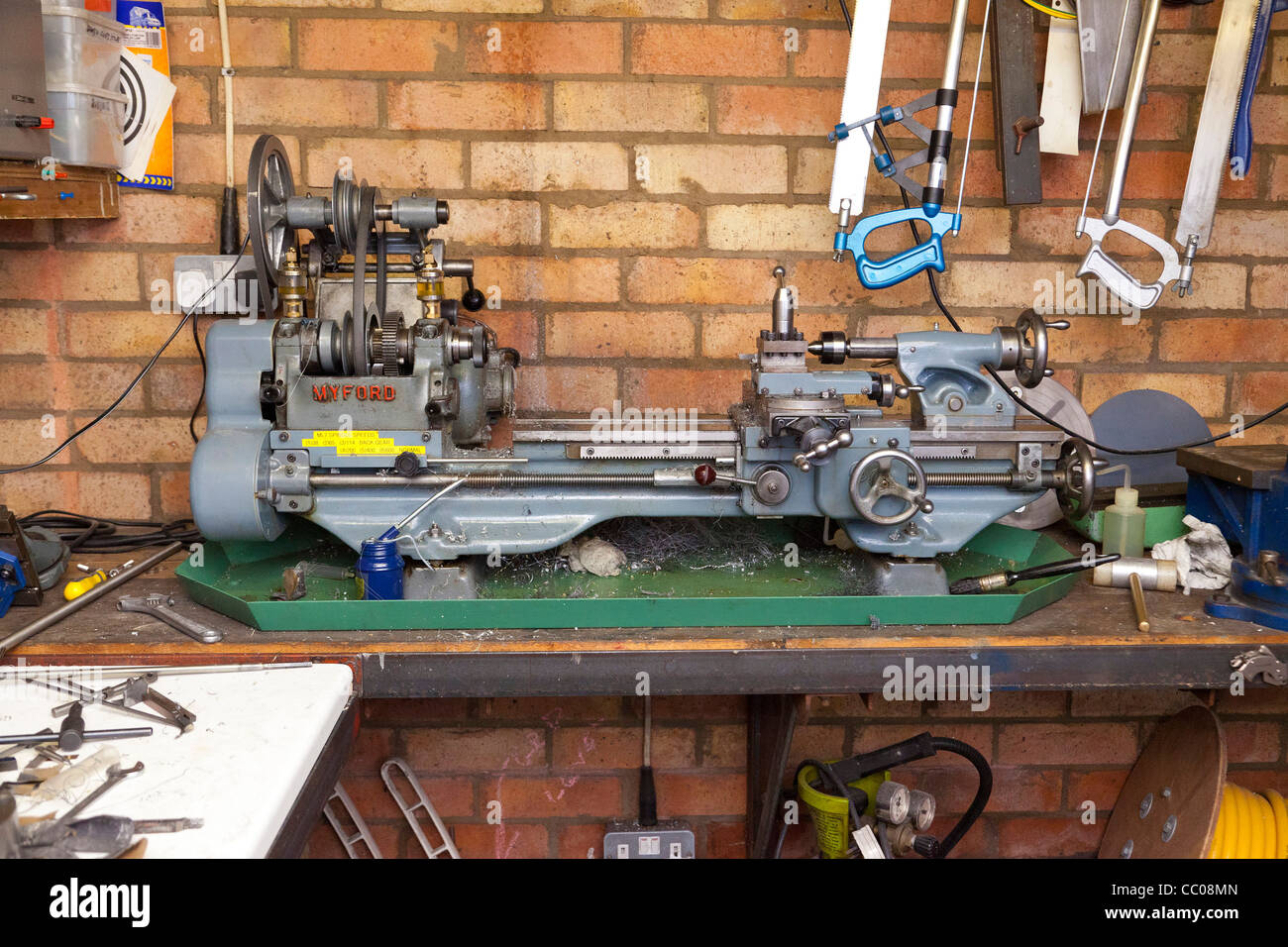 Myford metalwork lathe in workshop - Stock Image