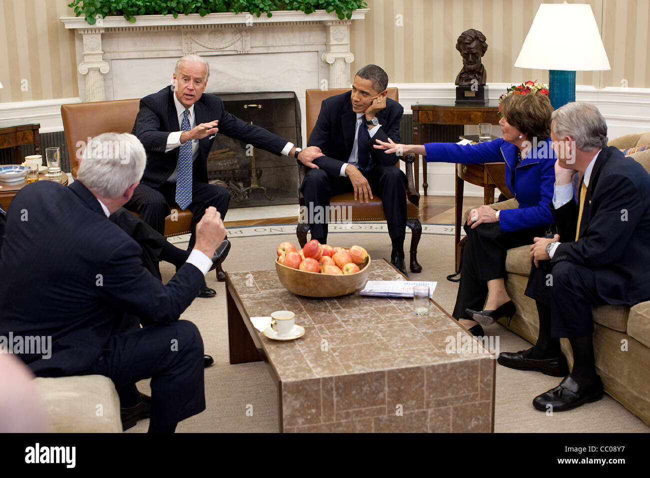 Vice President Joe Biden gestures during a meeting with President Barack Obama and Democratic Congressional leaders - Stock Image