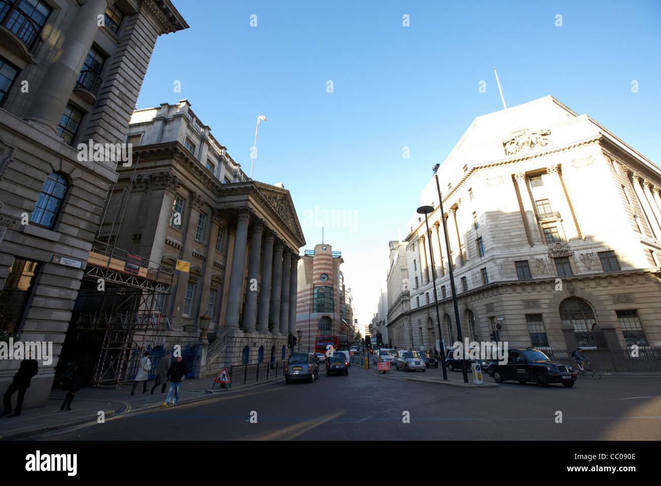 bank junction of lombard street, mansion house street princes street in the financial area of the city of london - Stock Image