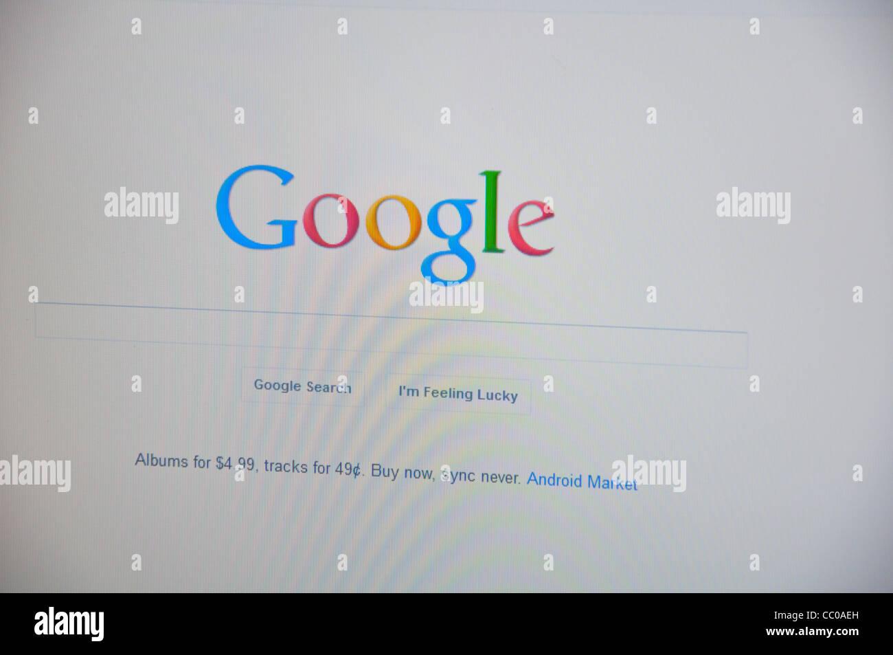 Google website screenshot - Stock Image