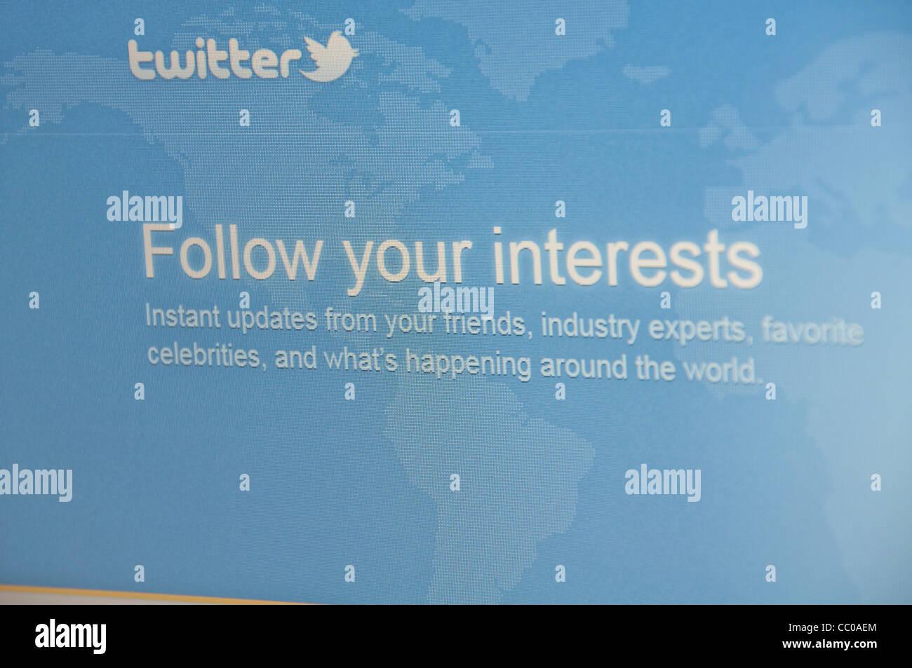 Twitter website screenshot - Stock Image