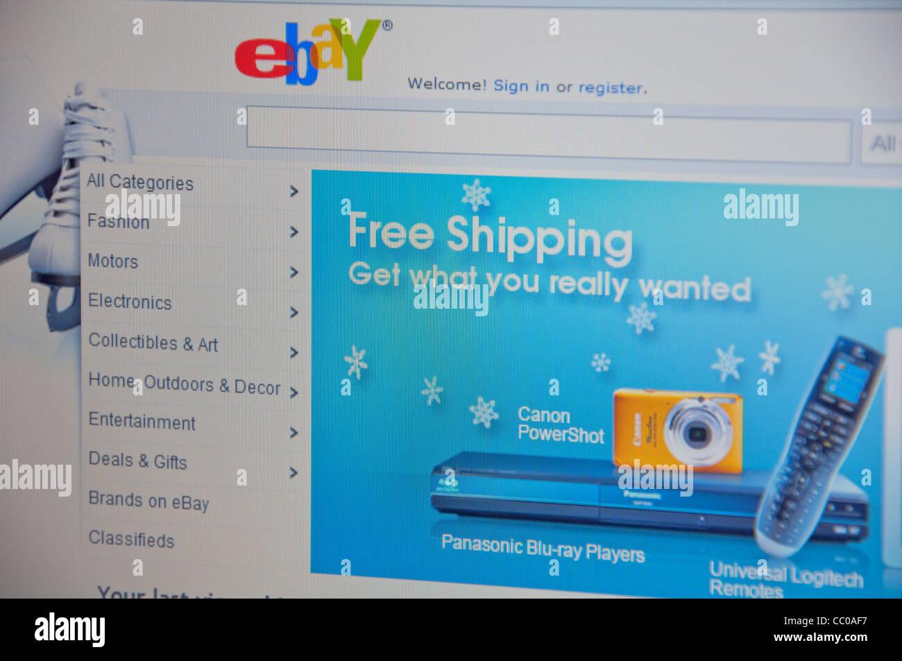 Ebay website screenshot - Stock Image