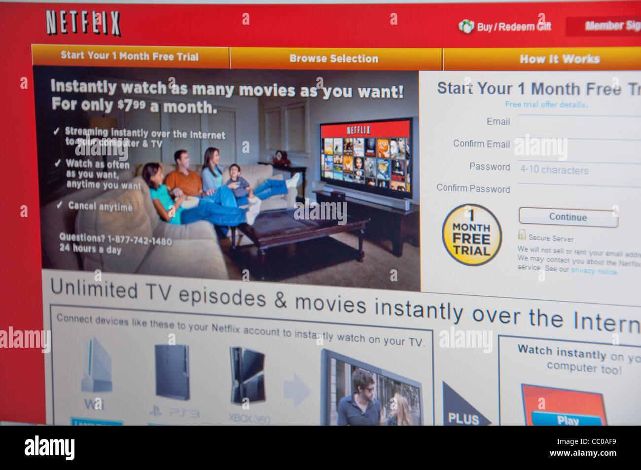 Netflix website screenshot - Stock Image