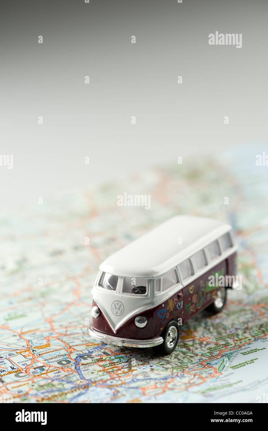 miniature VW volkswagen camper van on a map of Australia - Stock Image