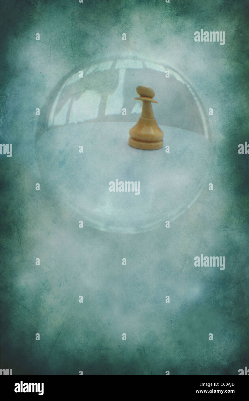 Chess pawn piece through a crystal ball - Stock Image