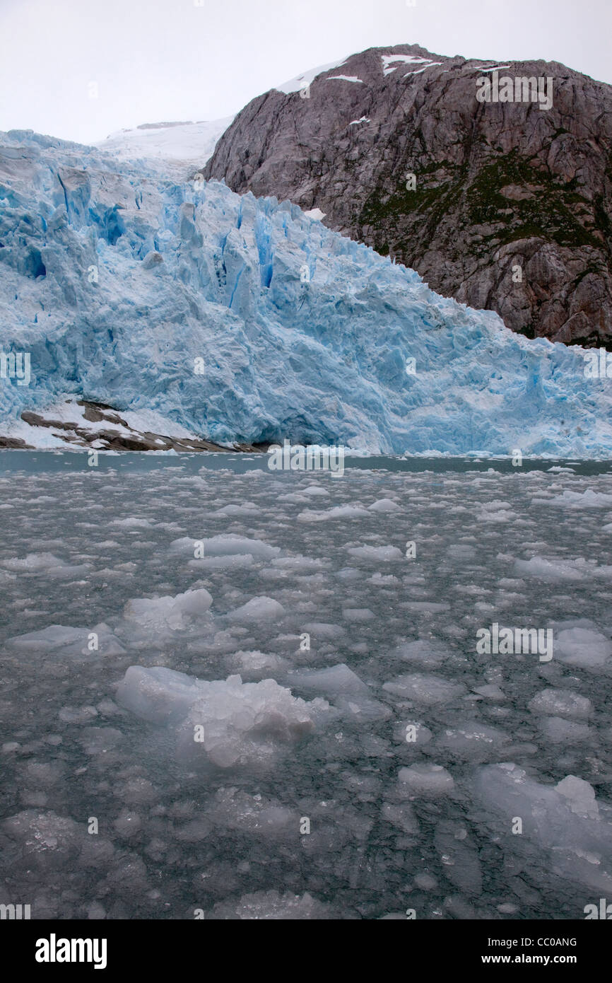 Ice floats on the water surface near a melting glacier. - Stock Image