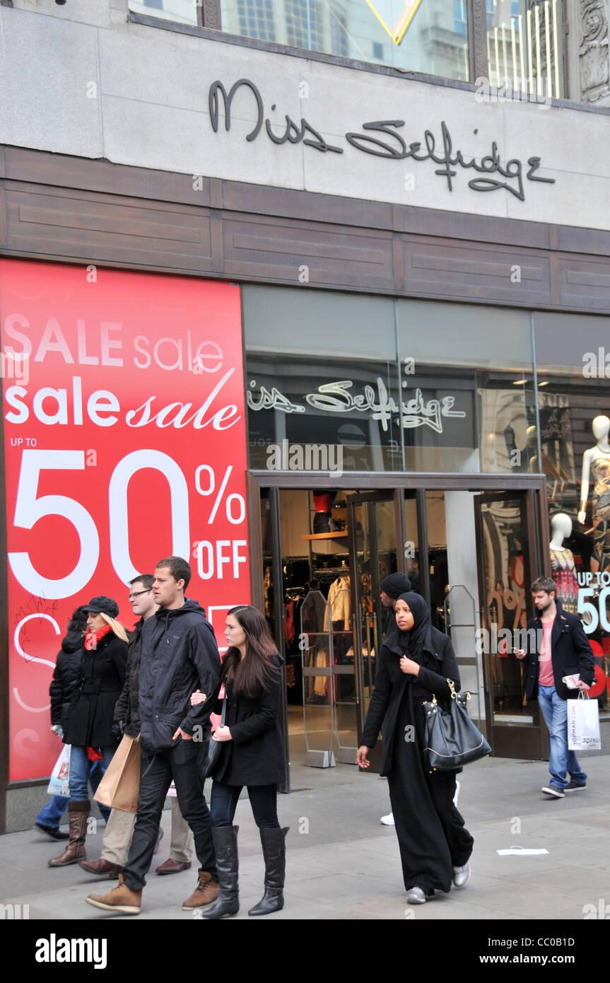 1b0e0a259b594 Miss Selfridge fashion chain sale January Sales London Retail sales sale  signs Oxford street London 2012
