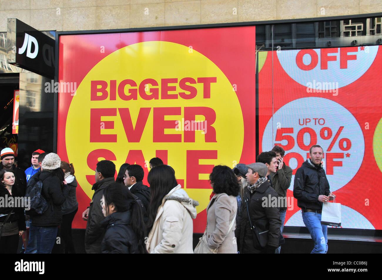 JD sports January Sales London Retail sales sale signs Oxford street London  2012 - Stock Image b41866a71