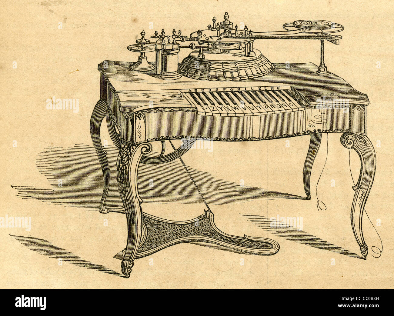 1854 engraving, House's American Printing Telegraph, with A to Z style piano keys for typing. - Stock Image