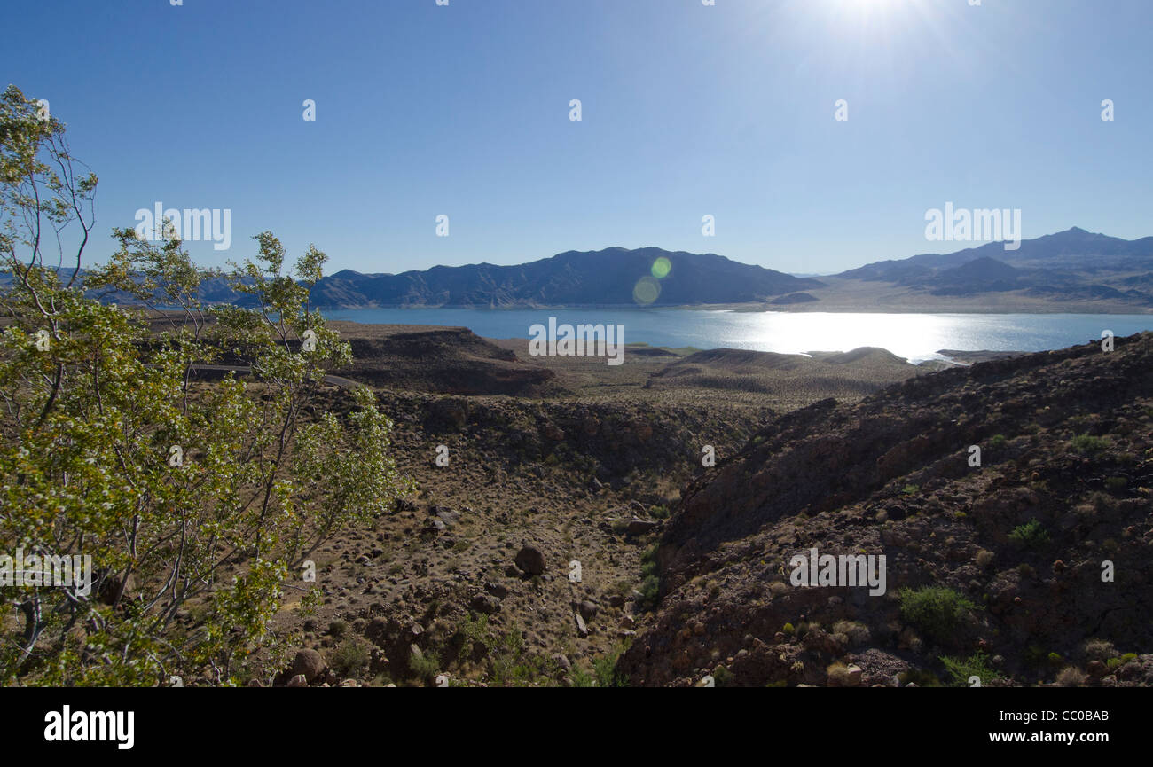 High desert overlook of Lake Mead Arizona Stock Photo