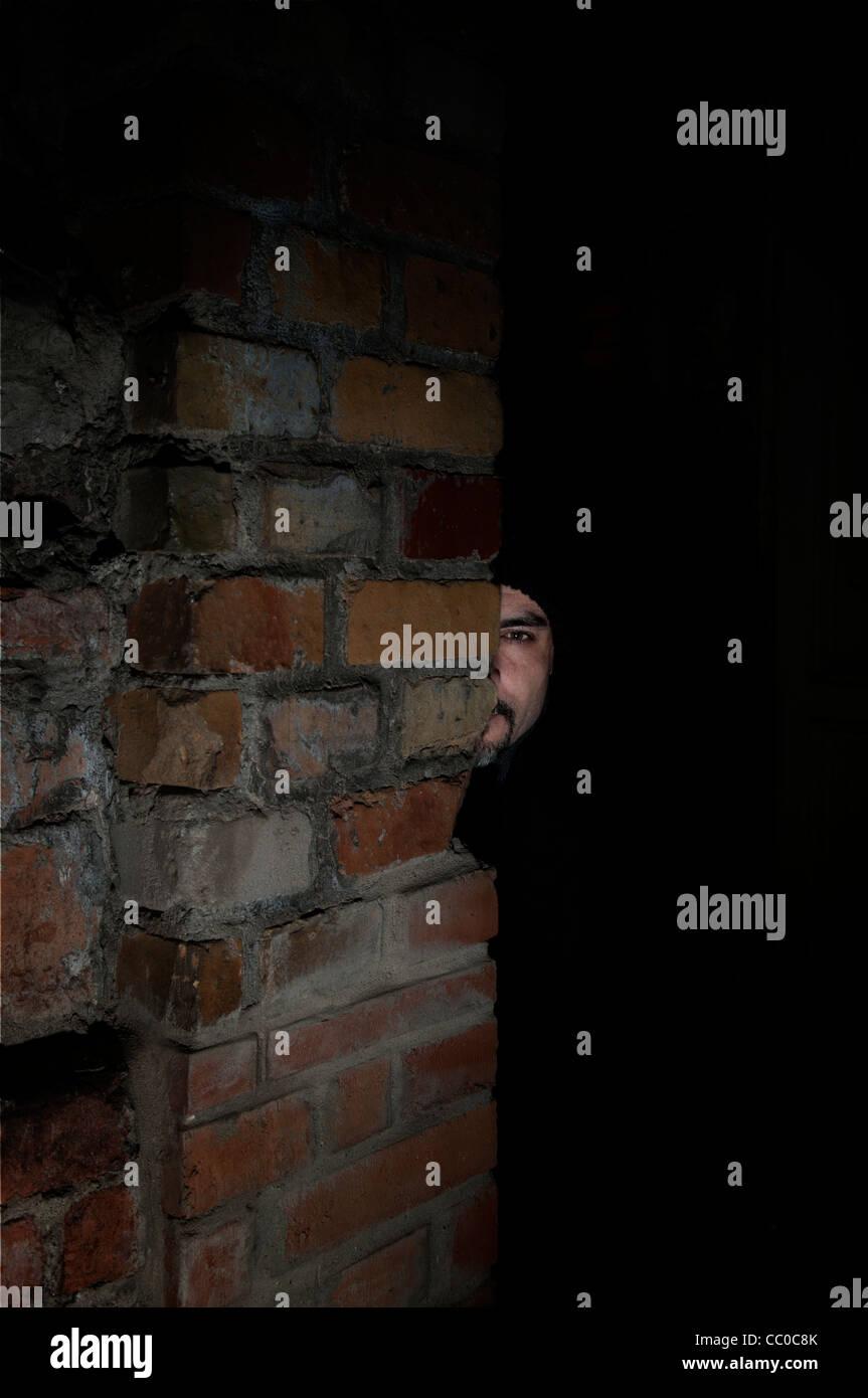 Stalker in the night - Stock Image