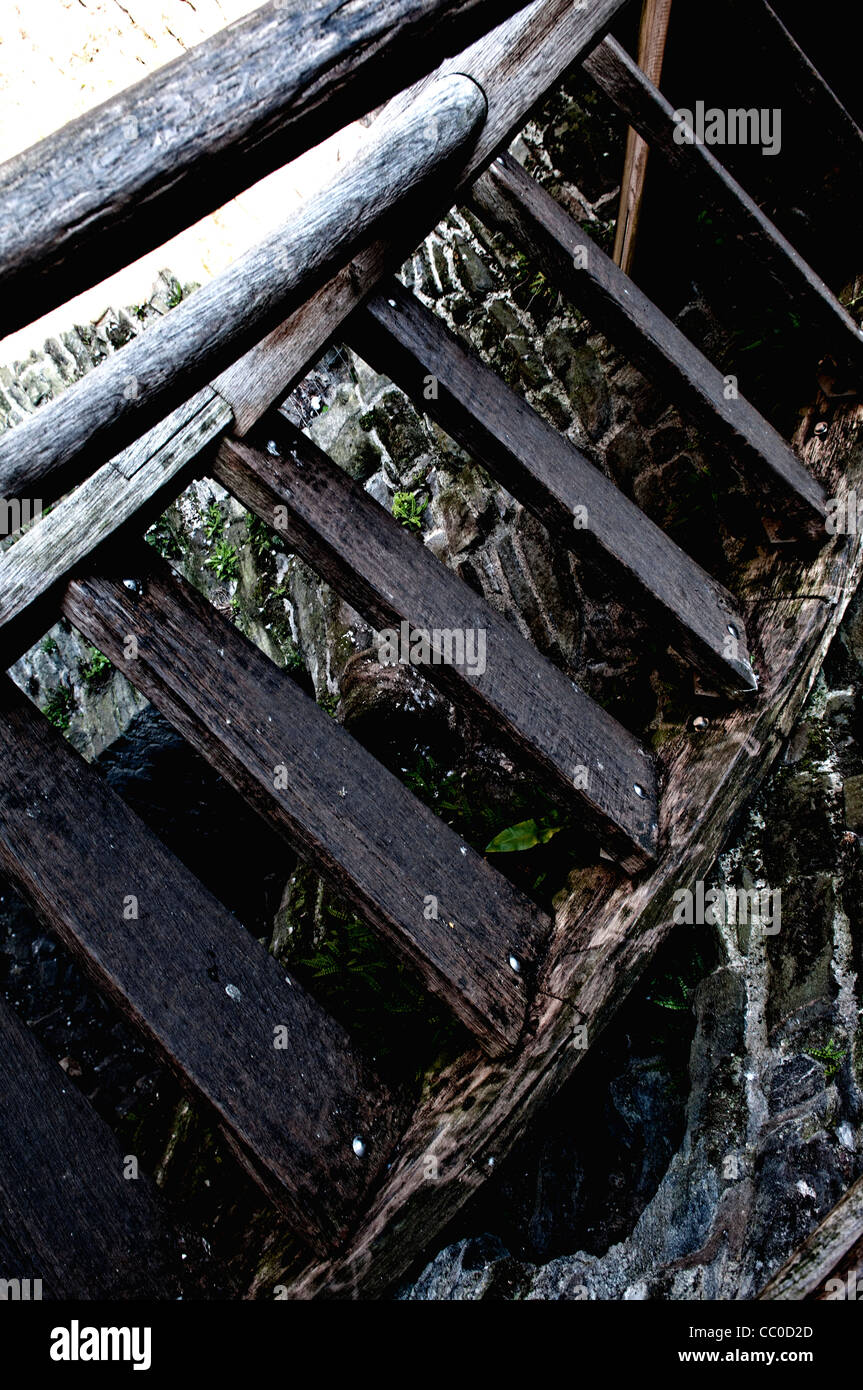 Old wooden staircase - Stock Image