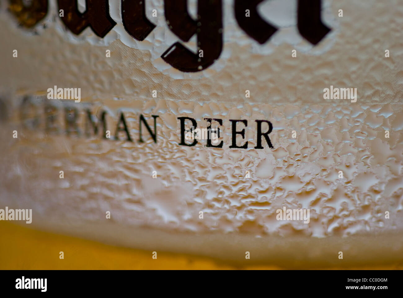 Macro shot of a pint of lager - Stock Image
