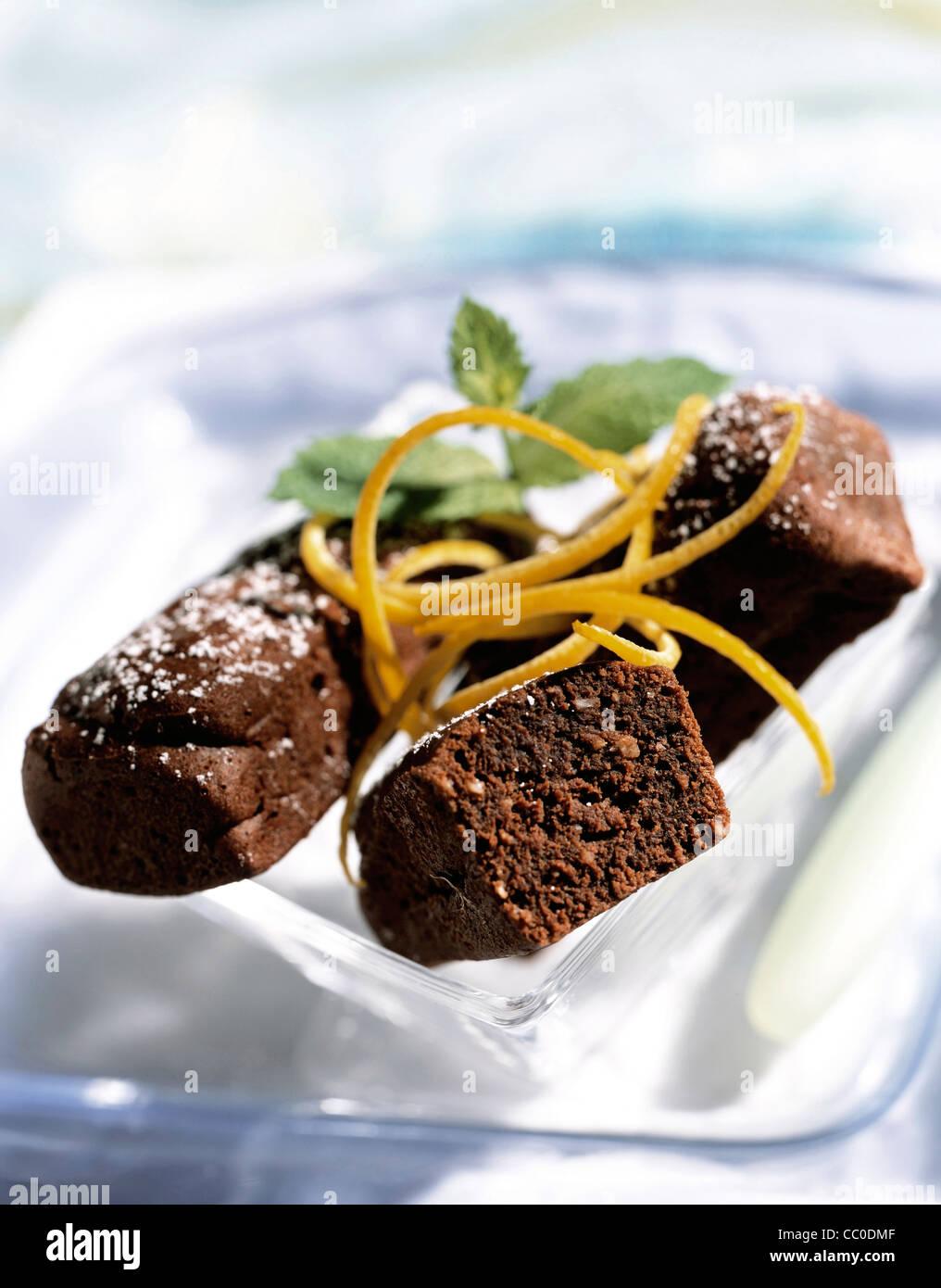 Orange flavored brownies - Stock Image
