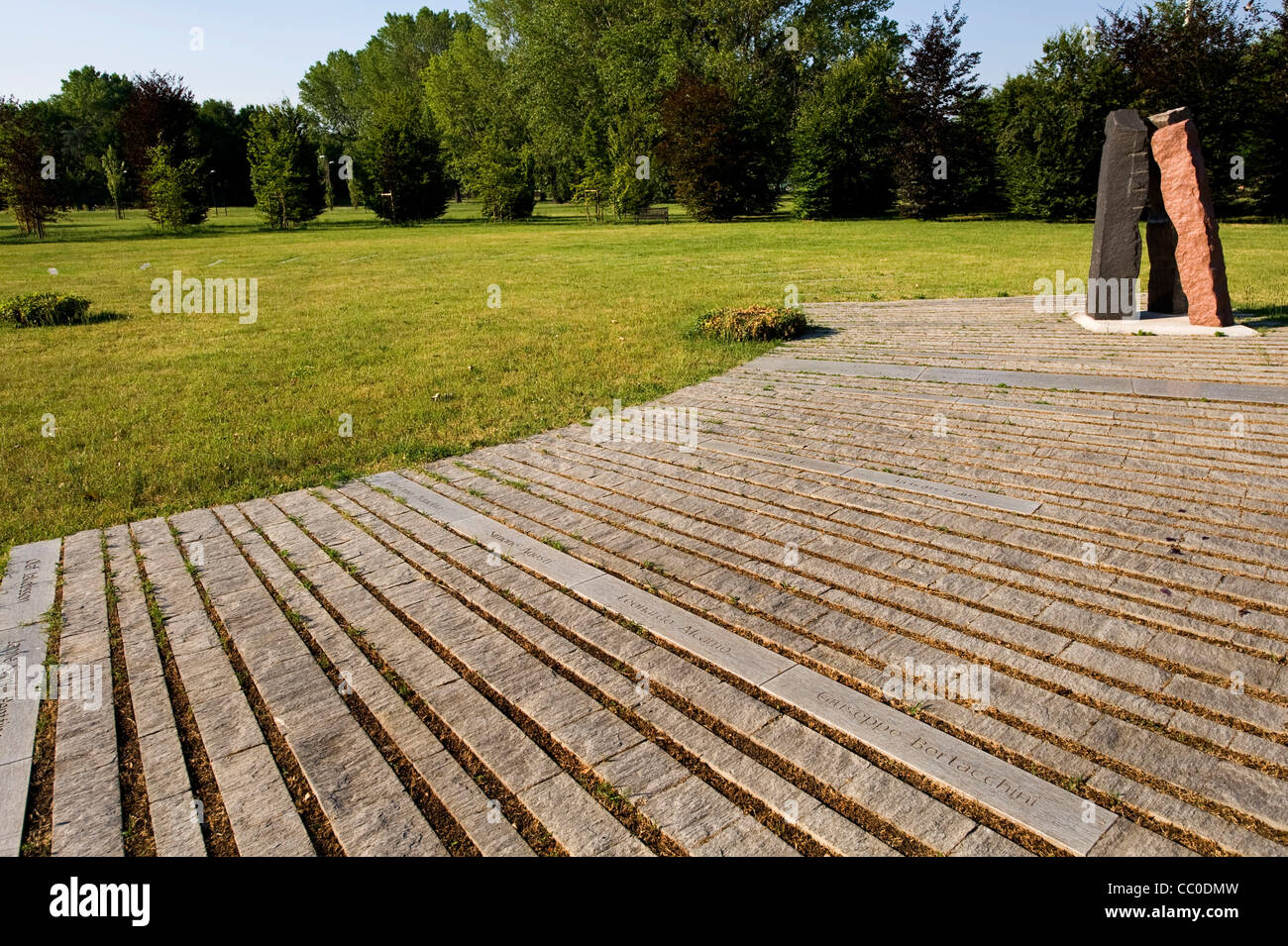 monument 'Bosco Dei Faggi' at Forlanini park in Milan commemorating victims of airplane disaster at Linate - Stock Image