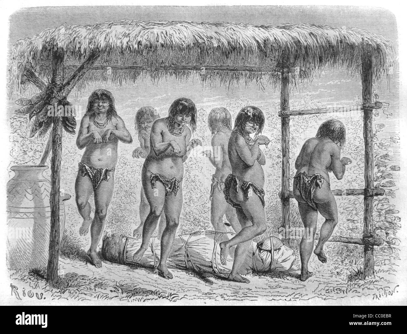 Funeral or Funerary Dance of Native American Indians or Indigenous Natives, Costa Rica, Central America, 1864 Engraving - Stock Image