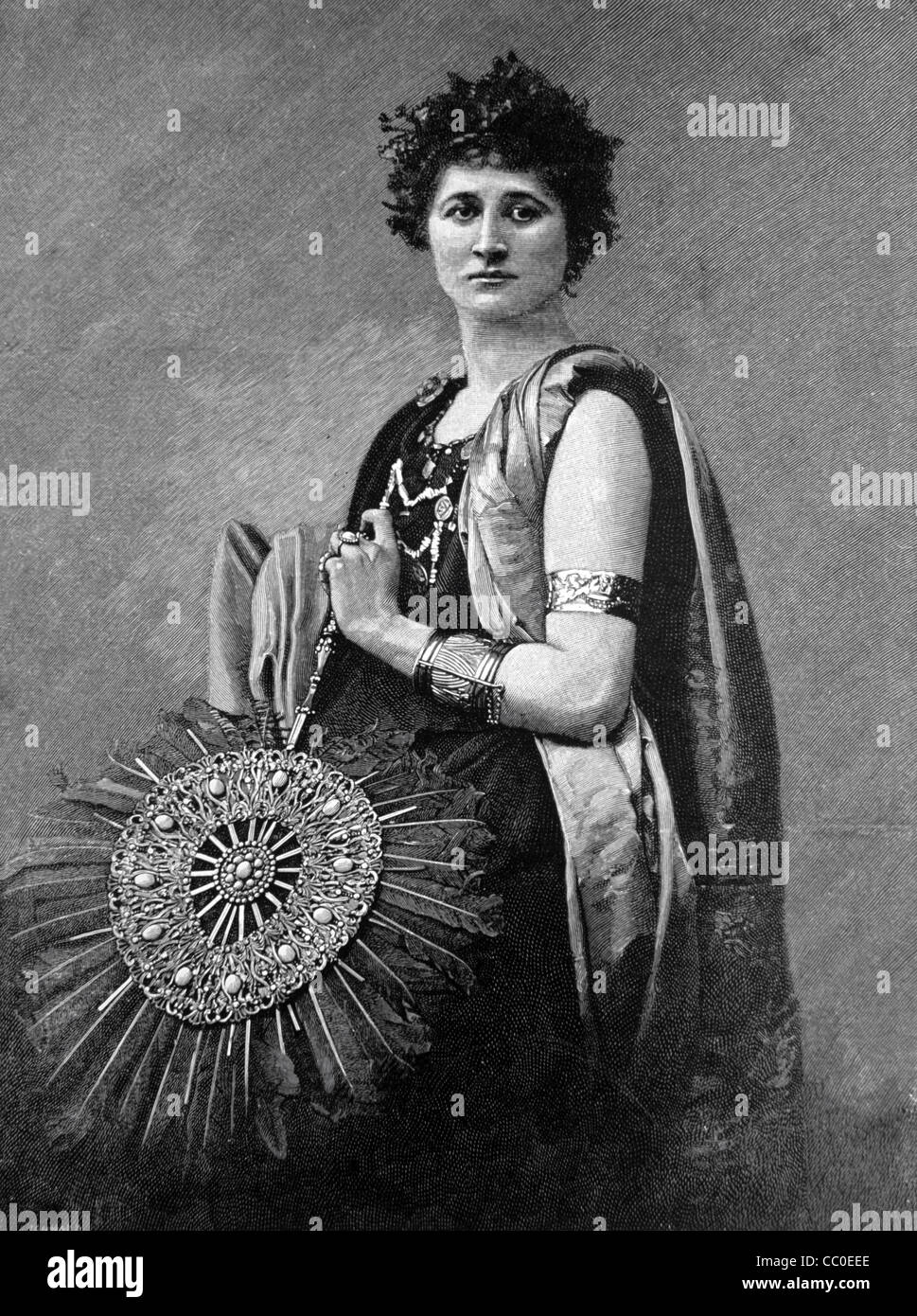 Hermione, daughter of Helen of Troy and Menelaus, King of Sparta, wearing Ancient Greek Costume, 1890s Wood Engraving - Stock Image
