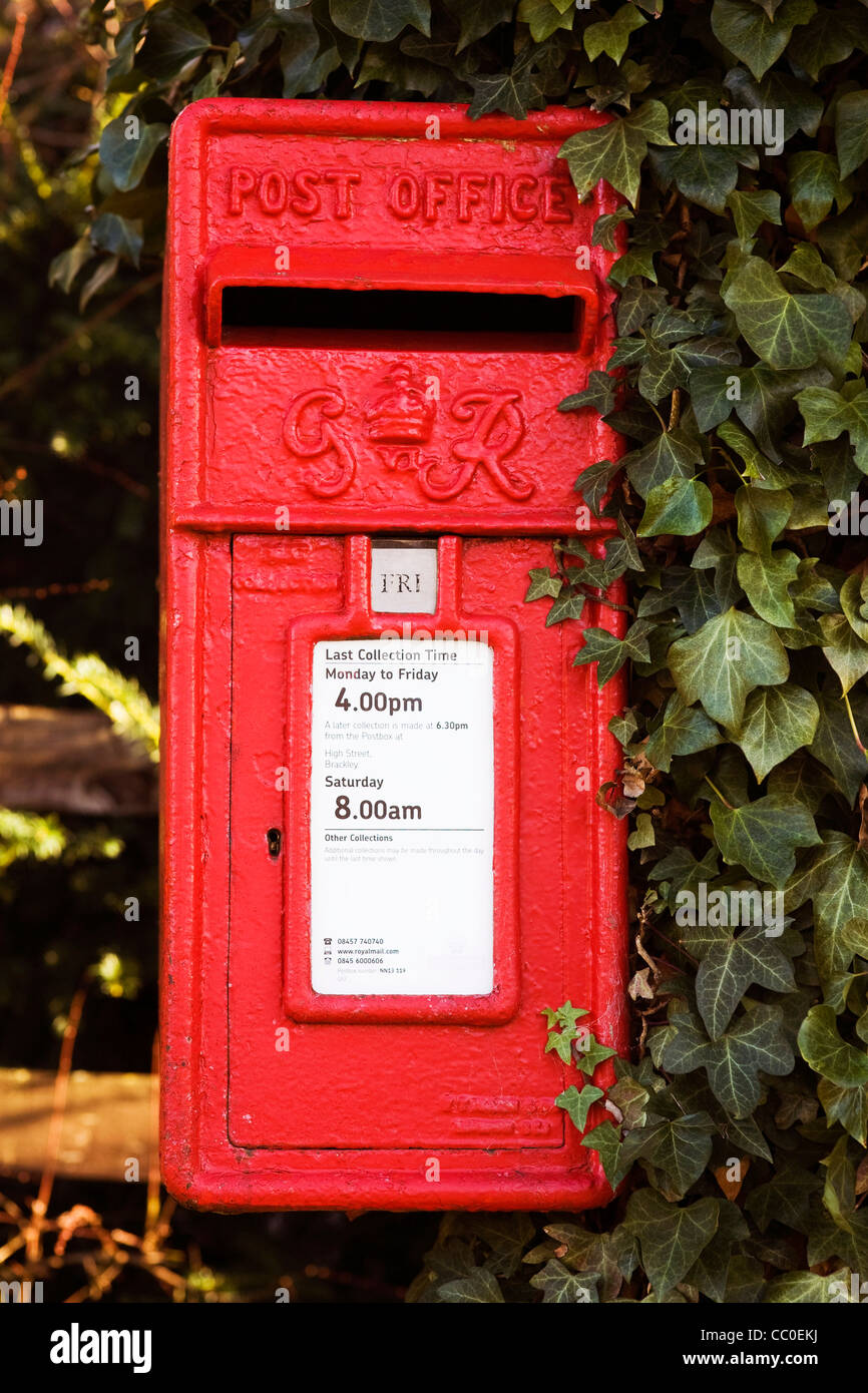 George VI postbox with ivy. - Stock Image