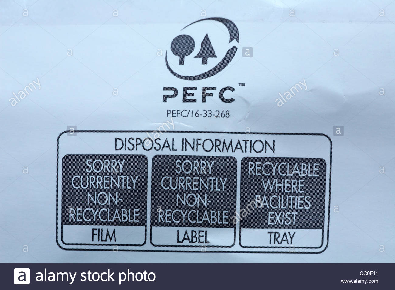 Disposal information on food packaging - Stock Image