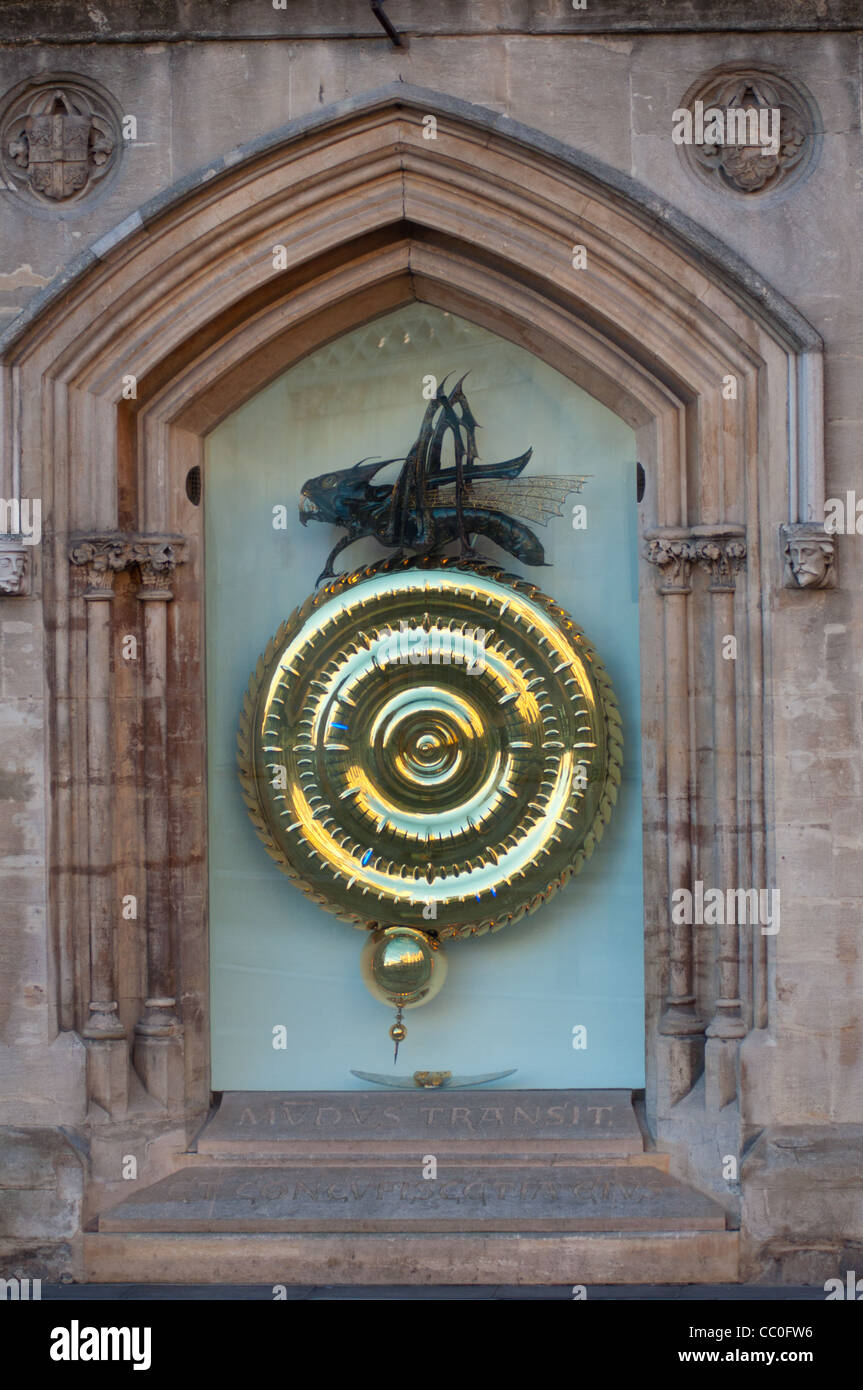 Grasshopper or Corpus Christi Clock, Kings Parade, Cambridge UK Stock Photo