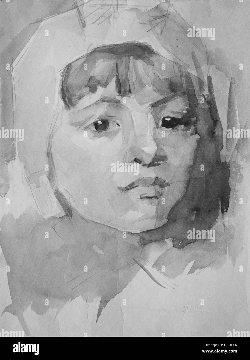 Graphic portrait of a girl painted by pencil and watercolor - Stock Image