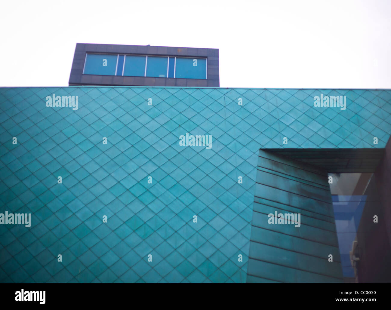 Exterior of the Radisson Blu hotel on Glasgow's Argyle street showing verdigris of the copper cladding - Stock Image