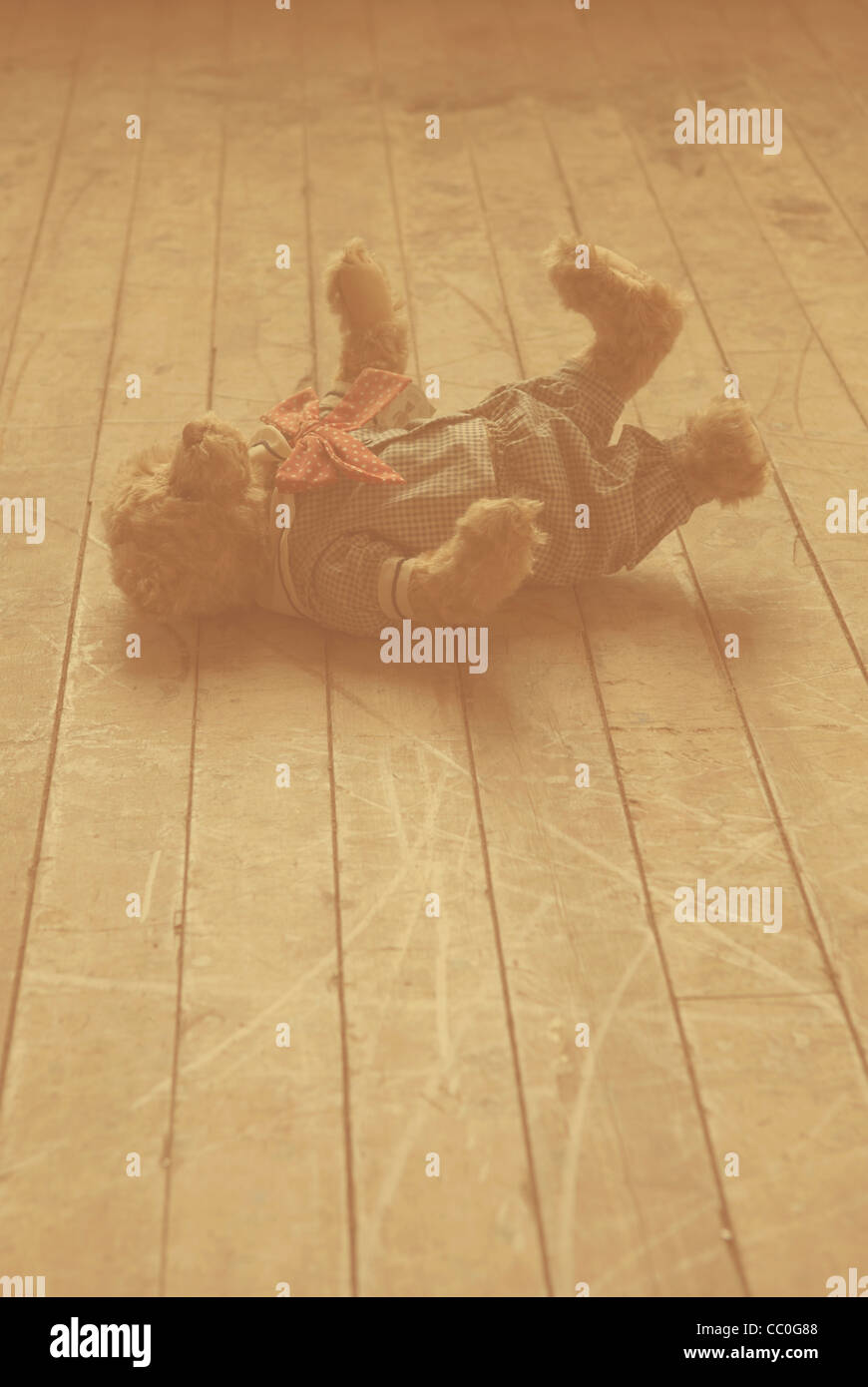 Abandoned teddy bear on the floor - Stock Image