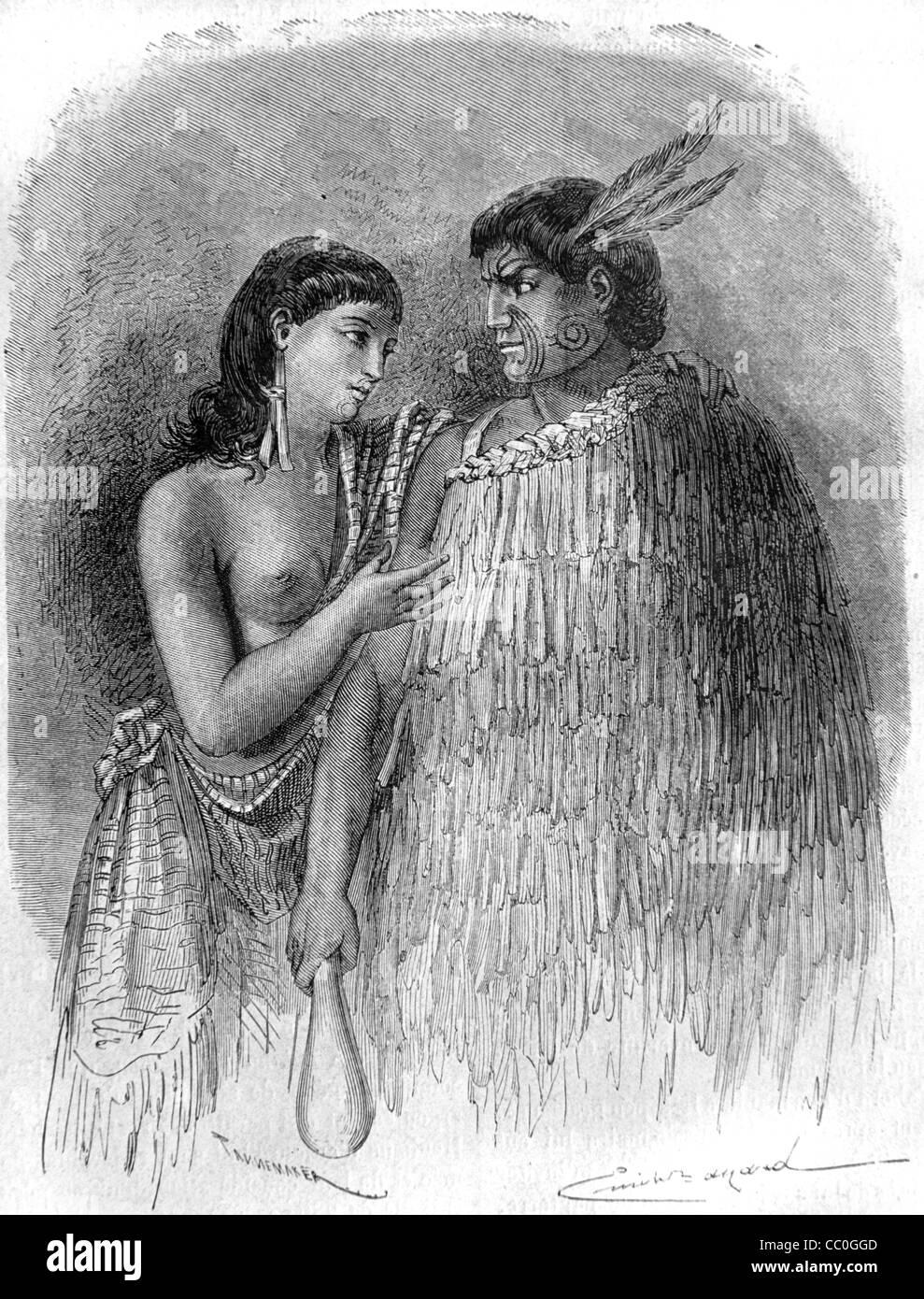 Hone Heke, or Hone Wiremu Heke Pakai (1807?-1850), Maori Chief & Leader, and Wife, New Zealand. Instigator of - Stock Image