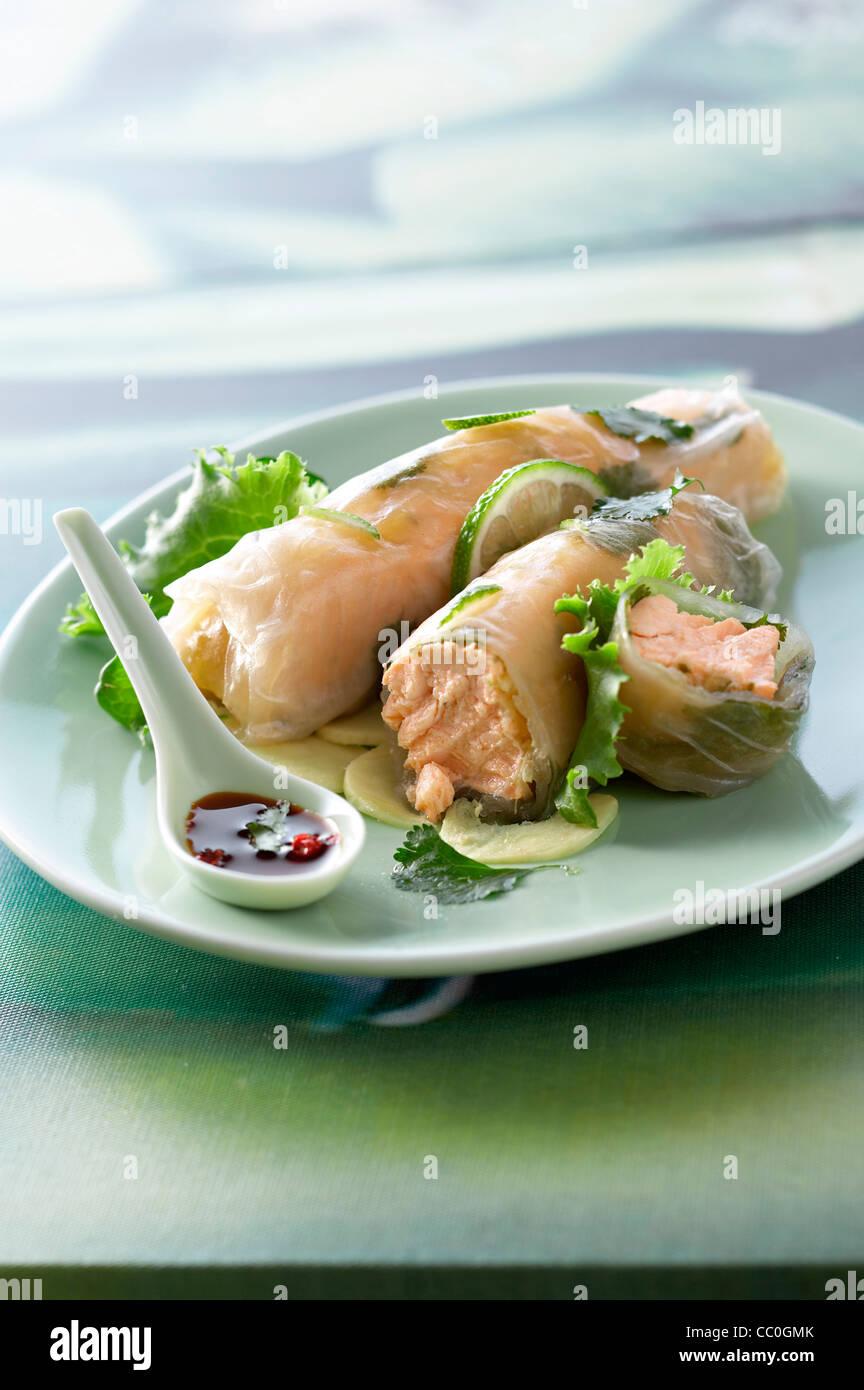 Spring Rolls Salmon - Stock Image