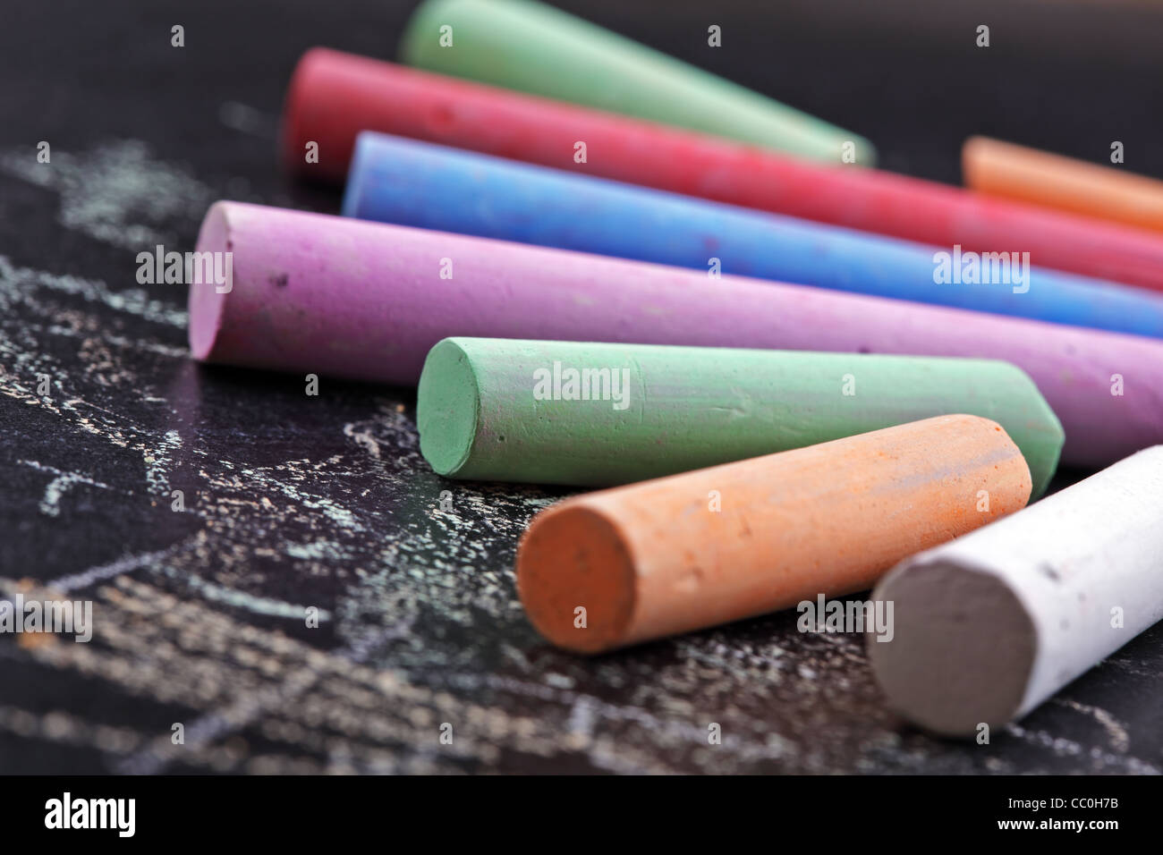 Colorful sticks of chalk - Stock Image