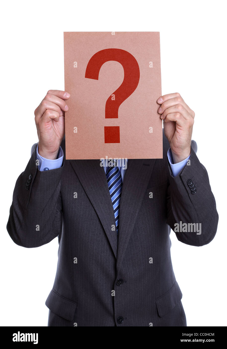Man covering his face with a question mark sign - Stock Image