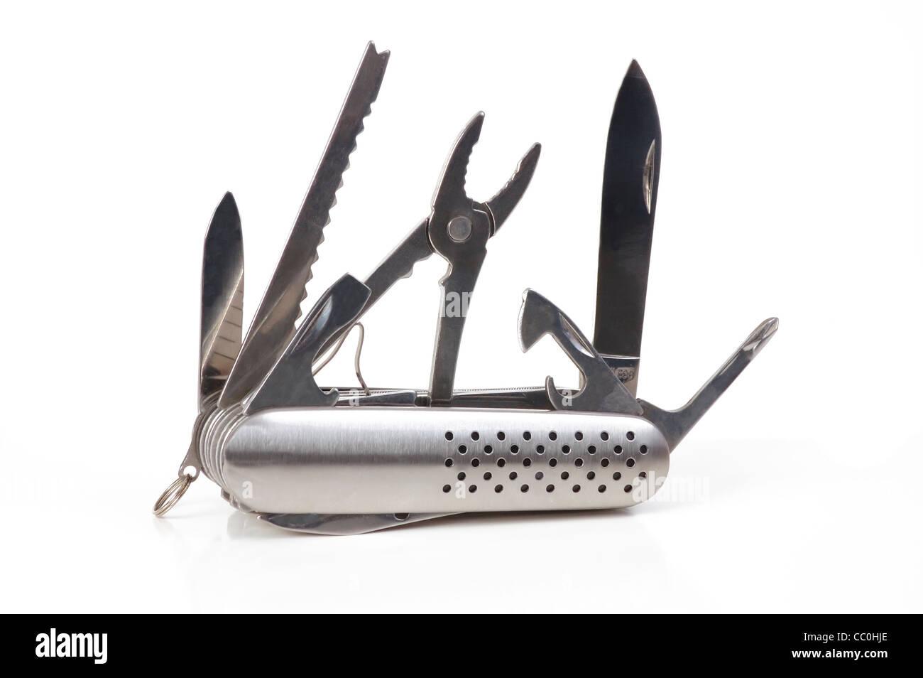 Swiss army knife closeup on white - Stock Image