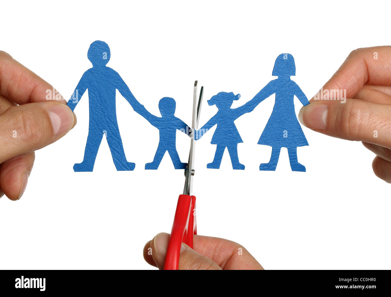 Paper chain family divorce - Stock Image