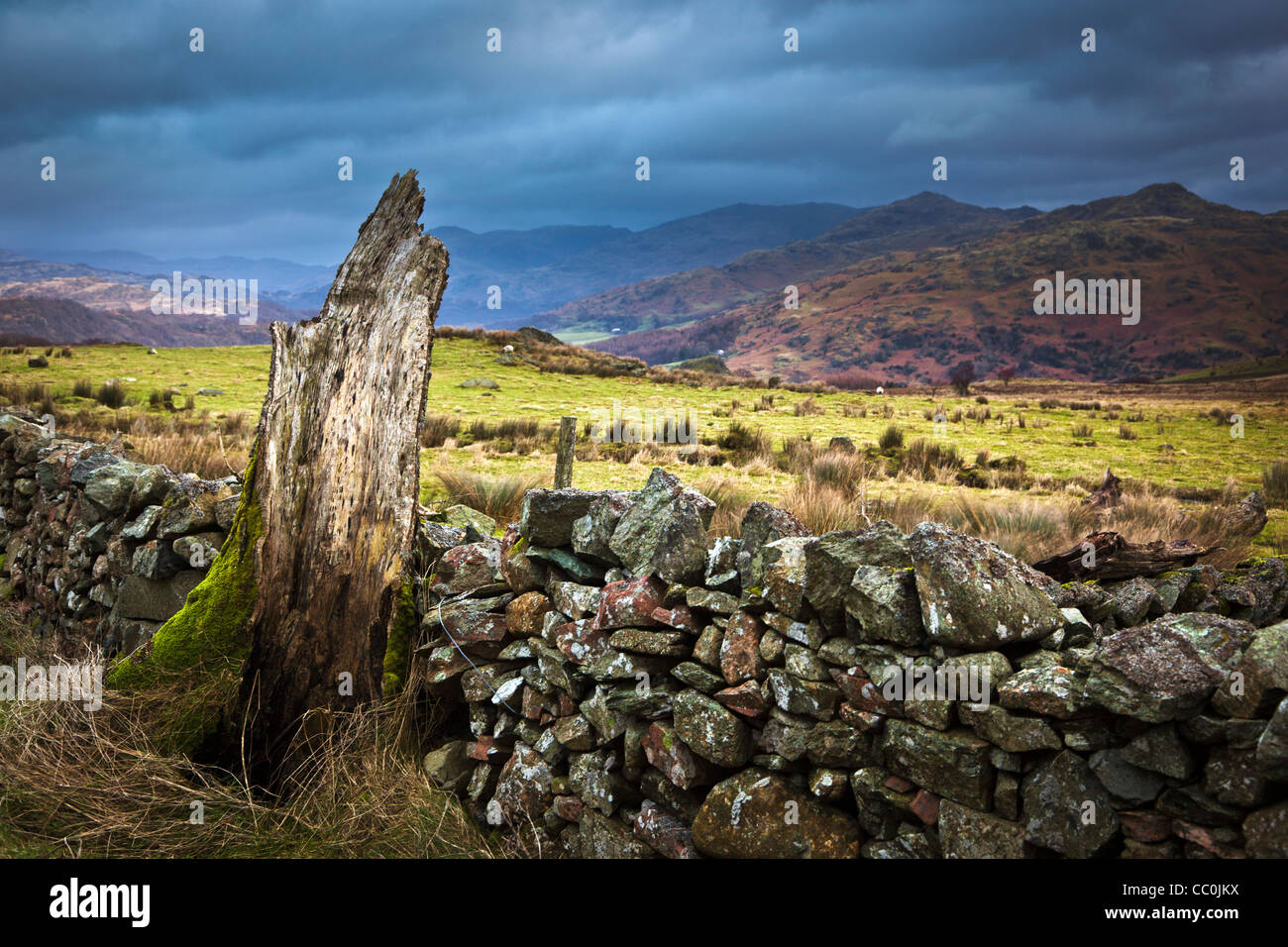 Black skies over the Duddon Valley in Cumbria, taken near Low Craghall - Stock Image