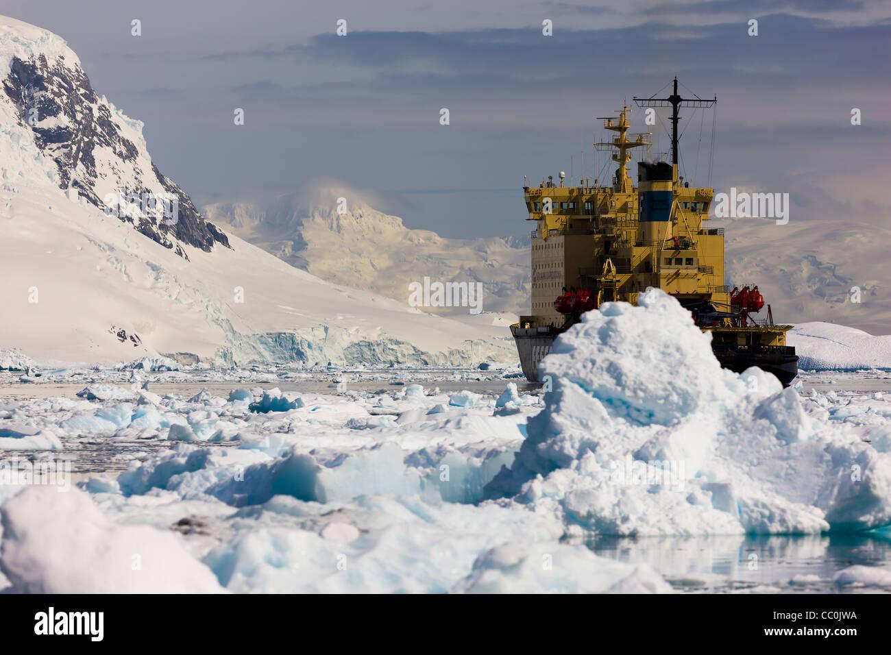 Antarctic peninsular Kapitan Khlebnikov Icebreaker moored anchored - Stock Image