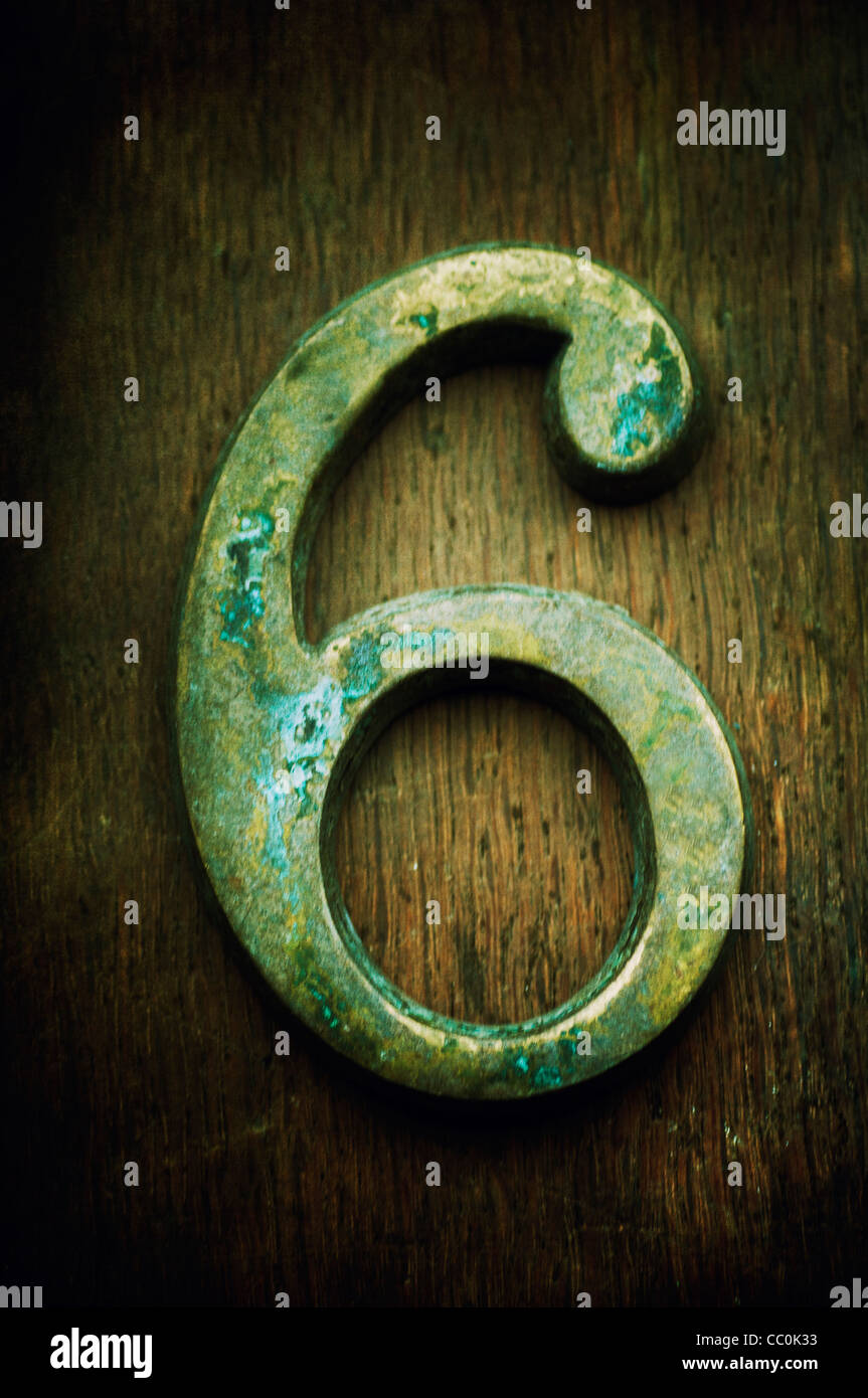 Rusty number six 6 - Stock Image