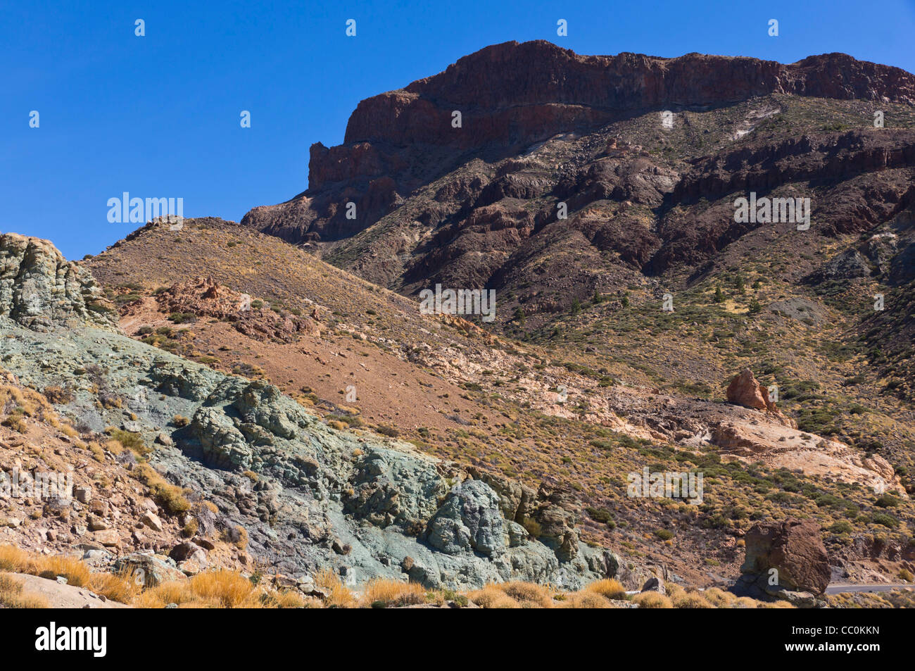 Los Azulejos - hydrothermal alteration near the Roques de Garcia, Mount Teide, Tenerife showing blue-green colours - Stock Image