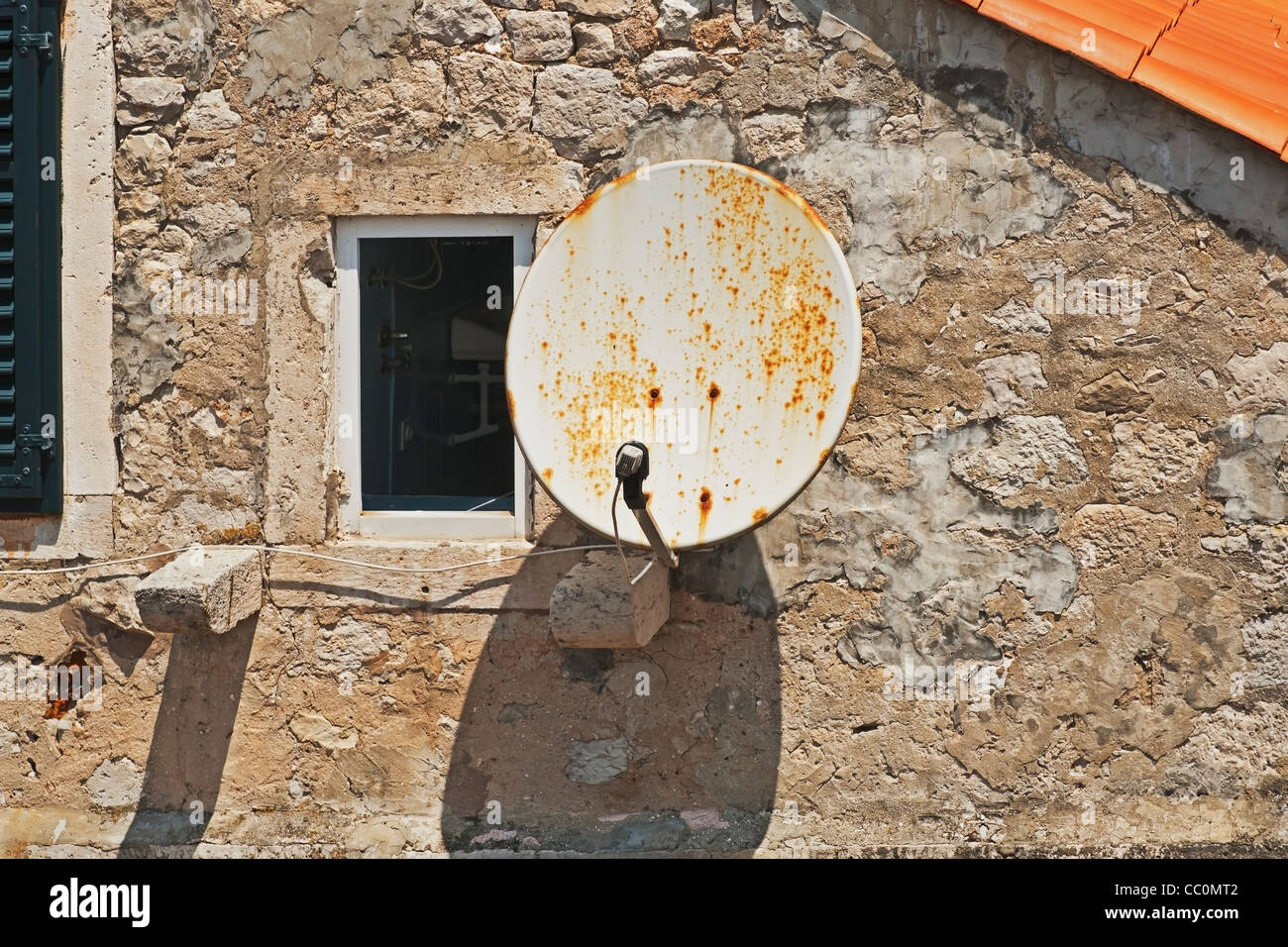 Satellite dish on a house in the Old Town of Dubrovnik, Dalmatia, Croatia, Europe - Stock Image