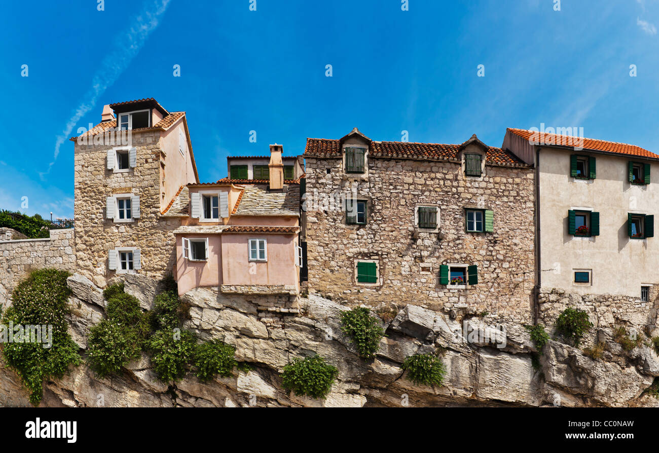 Distinctive houses, built on a rock, in the old town of Split, Dalmatia, Croatia, Europe - Stock Image