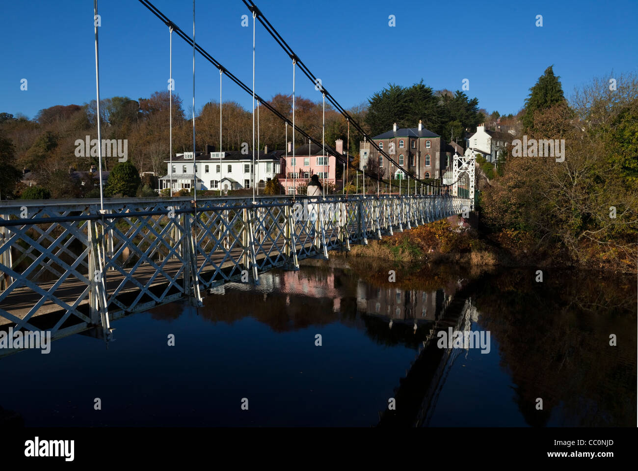 Daly's Suspension Bridge 1927 over the River Lee, Joins Sundays Well to the Mardyke, Cork City, Ireland. - Stock Image