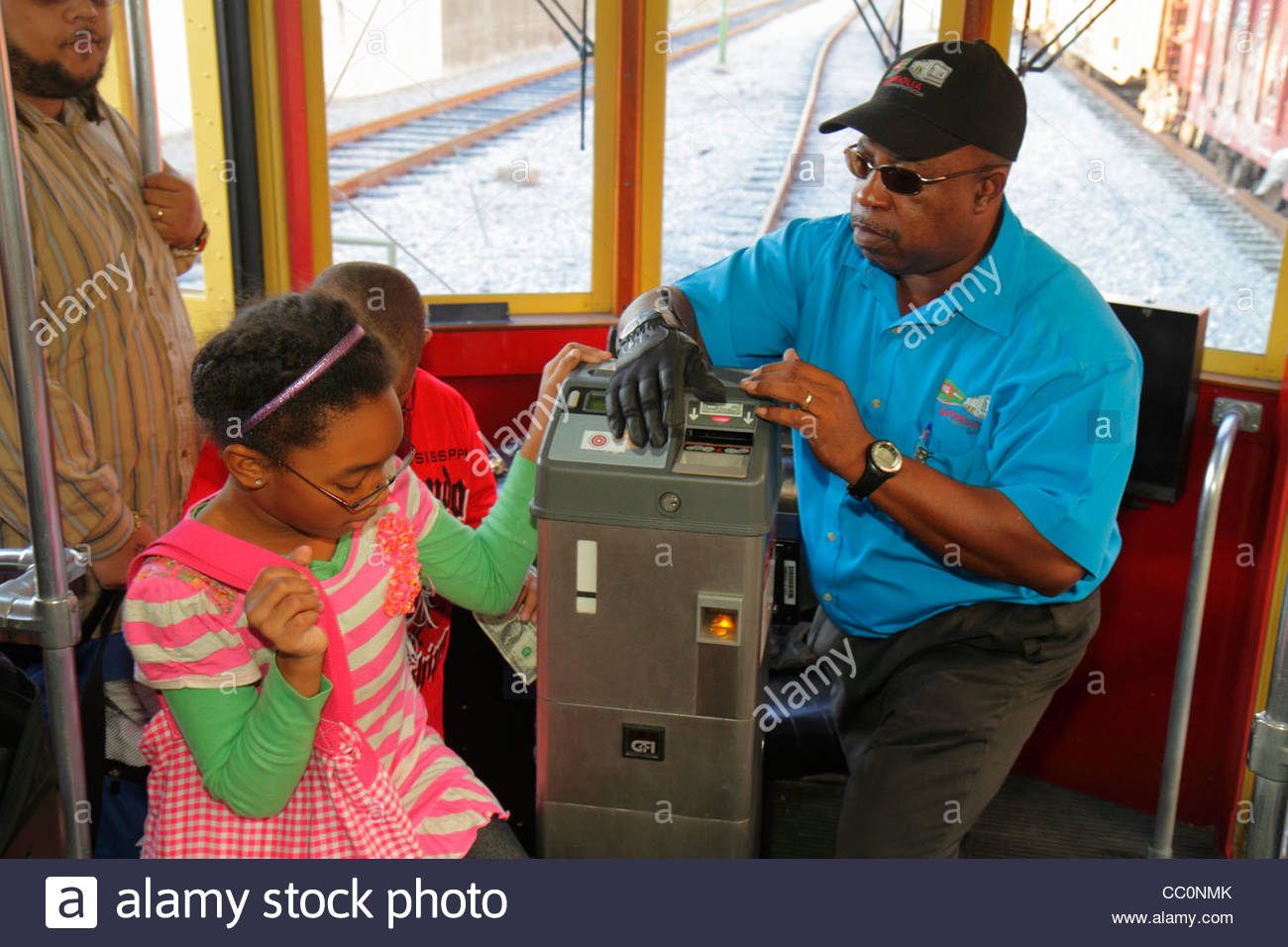 New Orleans Louisiana Regional Transit Authority RTA public transportation Riverfront Streetcar Line tram trolley - Stock Image