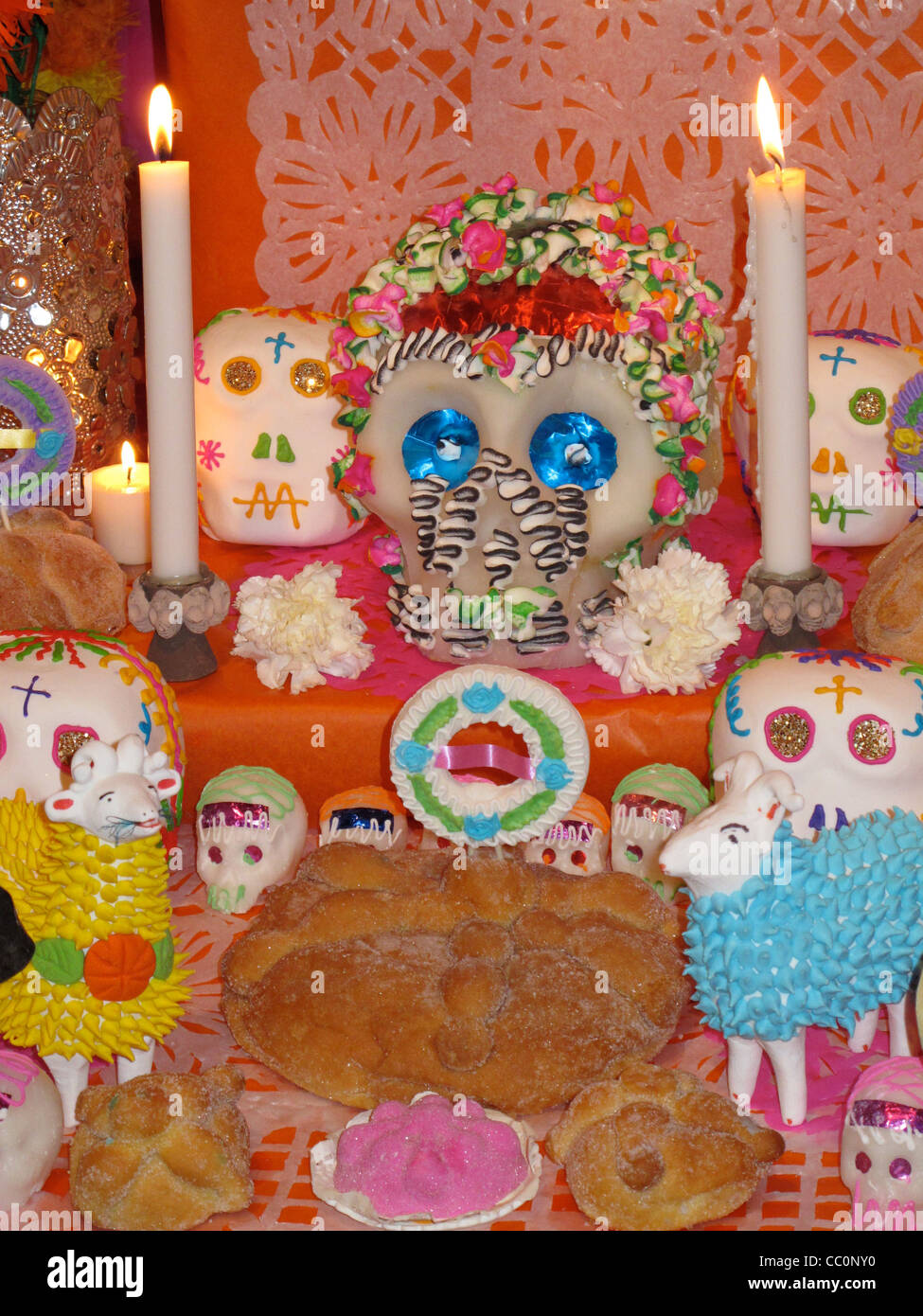Dia de Los Muertos Altar from Mexico with Sugar Skull and Candles - Stock Image